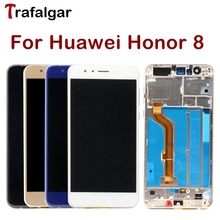 Trafalgar display para huawei honor 8 display lcd tela de toque para honra 8 display com moldura FRD L19 l09 l14 telefone móvel lcd