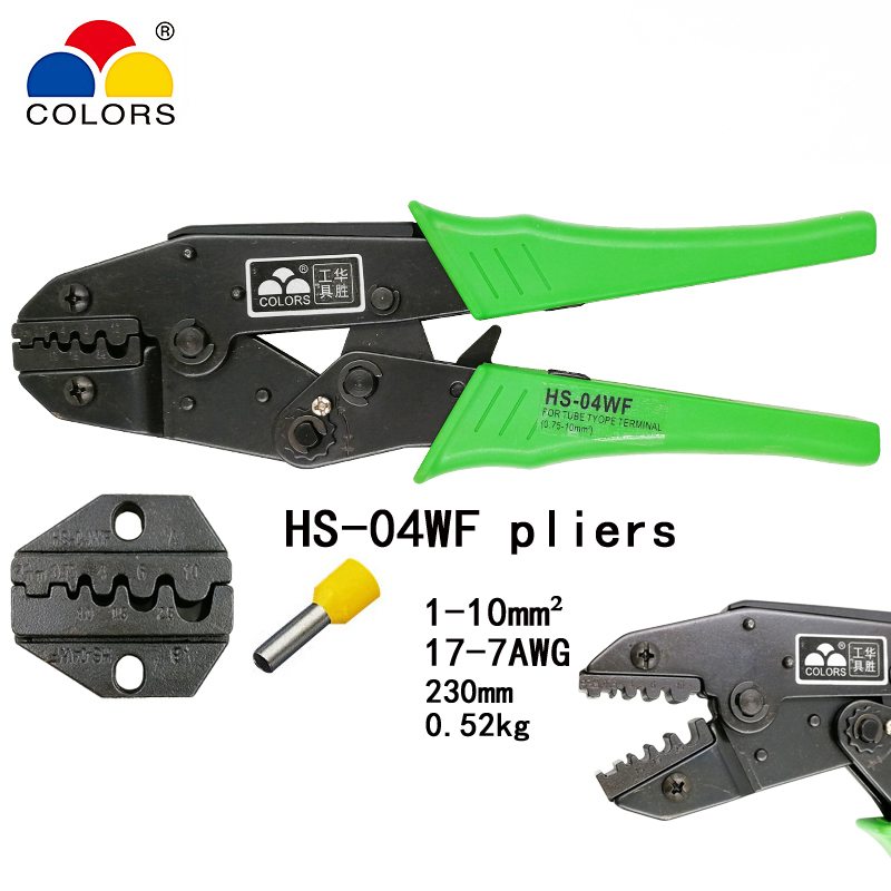 COLORS HS-04WF crimping pliers for insulated and non-insuated ferrules self-adjusting capacity 1-10mm2 17-7AWG brand hand tools