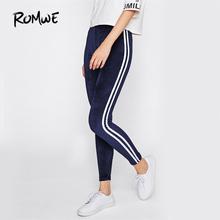 ROMWE Side Striped Casual Velvet Leggings Women Navy Brief Basic Fitness Winter Pants Fashion New Workout