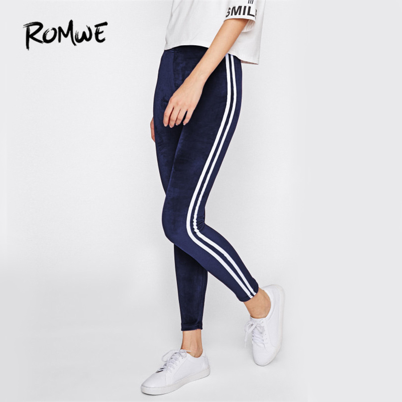 ROMWE Side Striped Casual Velvet   Leggings   Women Navy Brief Basic Fitness Winter Pants Fashion New Workout Slim   Leggings