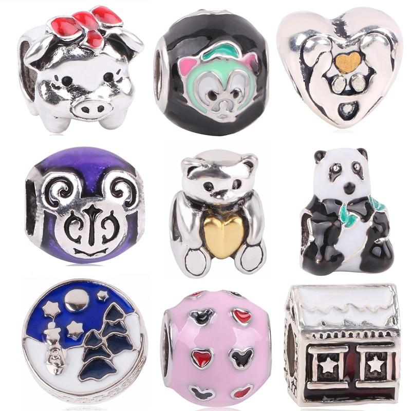 dodocharms Antique Silver Color Cat Bear Pig Mouse House Christmas Bead Charm For European Pandora Charm Bracelets