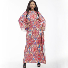 Explosive models summer women loose national style classic print bat sleeve long dress free shipping