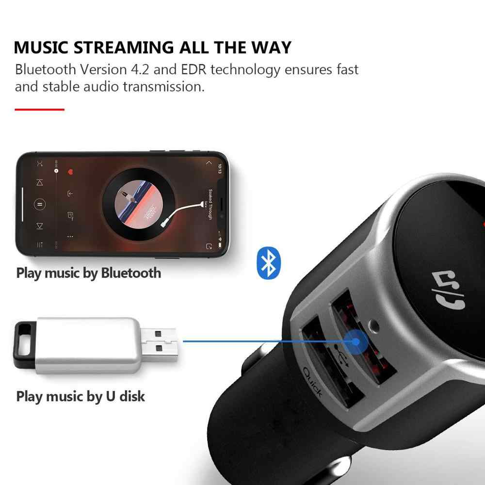 Jilang samochodu nadajnik Bluetooth FM bezprzewodowy Adapter radiowy muzyka MP3 odtwarzacz samochodowy zestaw bezprzewodowy połączenia z QC3.0 podwójne ładowanie USB