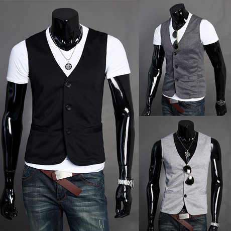 Hot 2016 Chegada Nova! Men Suit Vest Slim Vestido Coletes Embutida Lazer Colete Business Casual Colete Três Botões