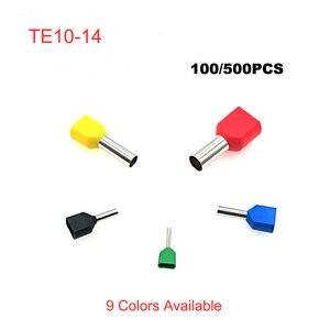 100/500pcs podwójna rura przewodowa ferrule izolowane zaciski TE10-14 rury elektryczne podwójne okablowanie złącza zaciskowe kabel 8AWG