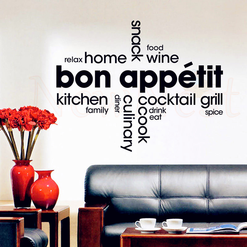 Online Shop Removable Vinyl Wall Stickers Decorative Kitchen   French Kitchen  Wall Art Mural   Kitchen Wall Decor   French Quotes Decals | Aliexpress  Mobile