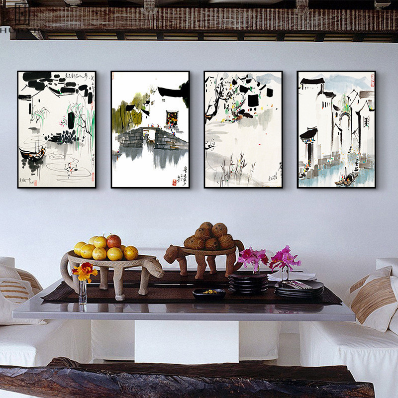 Traditional Chinese Watercolor Simple Style Canvas Paintings Beautiful Countryside Landscape River Village For Home Decoration