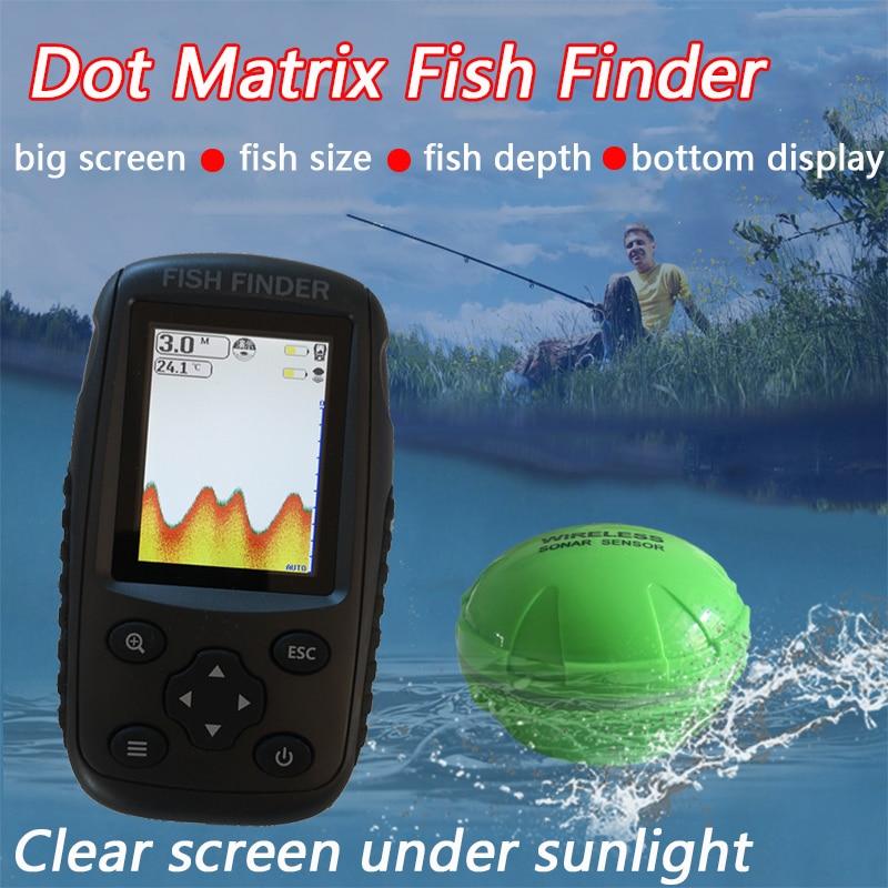 Free Shipping Brand New Colorful Wireless Fish Finder Dot Matrix Sonar Sensor Transducer Depth Echo Sounder