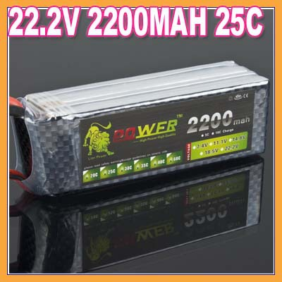 ФОТО Free shipping Lion Power Lipo battery 22.2V 2200MAH 25C 6S Max 30C fast charing RC Lipo battery