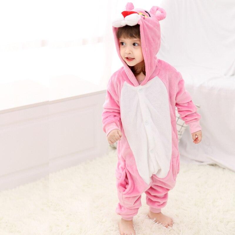 Funny Pink Panther Onesie Kids Kigurumi Pajamas Baby One-Piece Cartoon Animal Pyjamas Cosplay Children Jumpsuit Winter Sleepwear (1) -