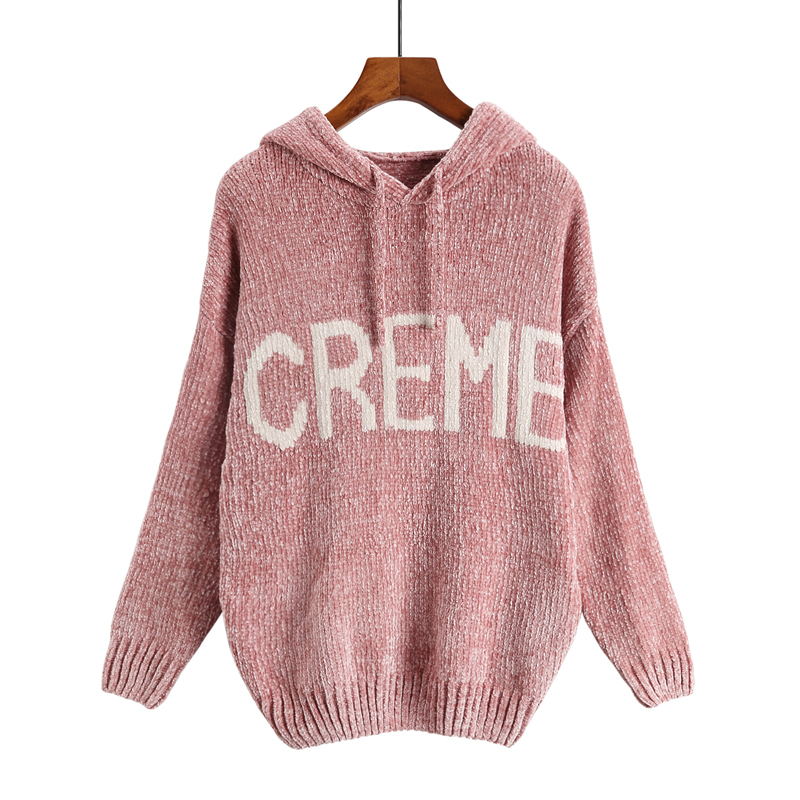 High quality 2018 Autumn Winter chenille velvet lady's sweater Wind Gold Velvet Neil hooded jumper knitted sweater for women