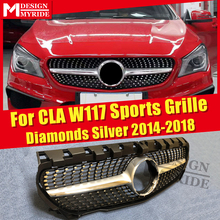 For W117 Diamonds Front Grille Silver ABS Material CLA-Class Cla180 Cla200 Cla250 Cla45 Without emblem 2016-in