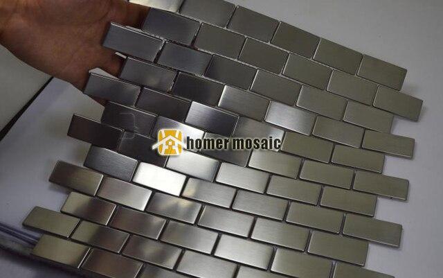 Goede Zilveren baksteen strip patroon staniless staal metalen mozaïek HN-67