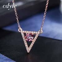 Cdyle Fashion Necklace Women Pendant S925 Sterling Silver Jewelry Pink Color Triangle Bijous Australian Rhinestone Paved