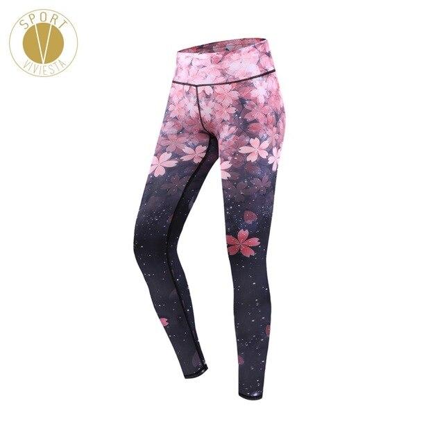 8b0e4bb2c9765 Sakura Print High Rise Sports Leggings - Women's Yoga Running Gym Workout  Floral Cherry Blossom Waist Full Length Tights Pants