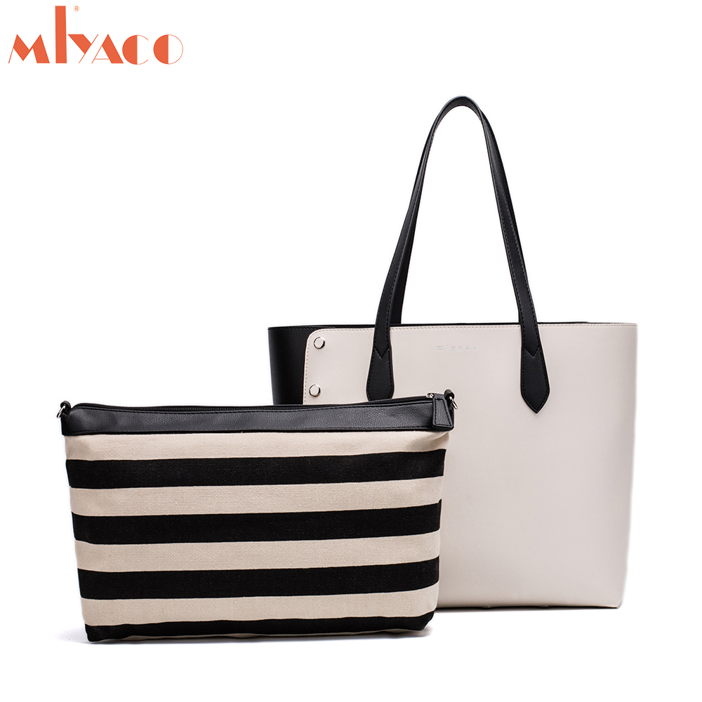MIYACO Lady Leather Tote Bag Casual Shoulder Bags White Black Women Handbags Shopping Bags Large Capacity Rivet Fashion Bags 2018 fashion lady handbags women canvas messenger bags shopping bags ladies casual green striped smiling face hand bag party