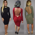 Vestidos New Sexy Bandage Night Club Bodycon Dresses Stretch Cotton Laced Back Cage Hollow Out Women Fashion Party Dress