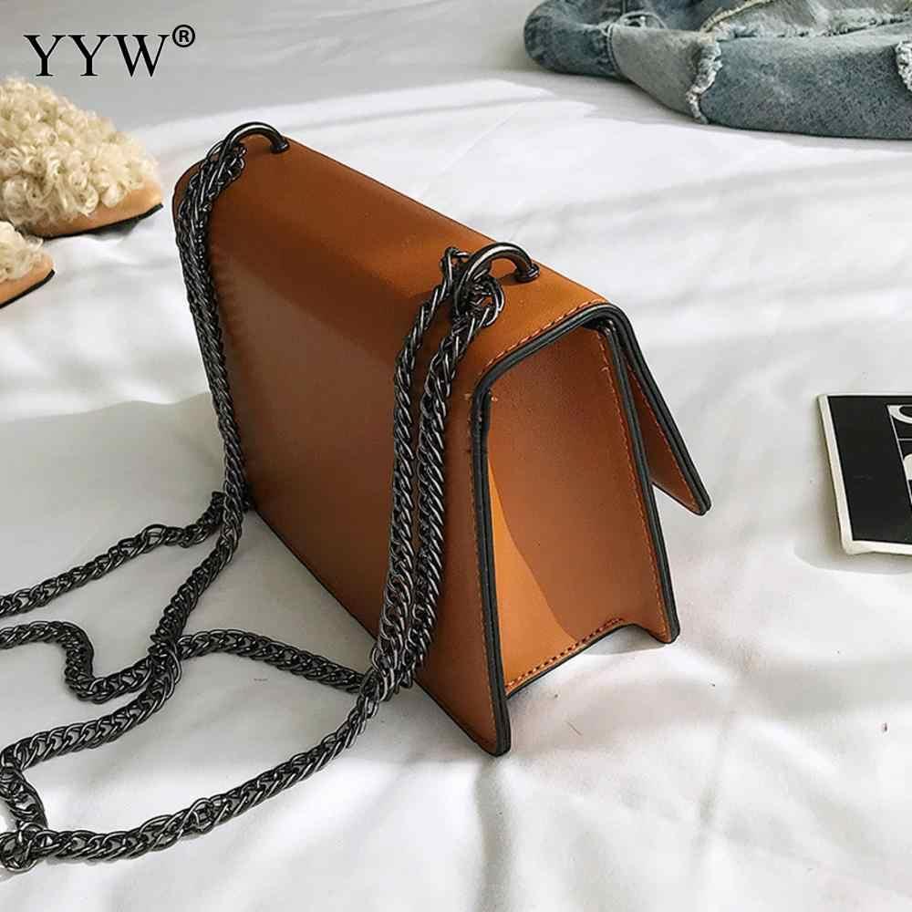 ... YYW дешевая цена винтажная женская кожаная сумка через плечо черная  цепочка на плечо сумка из искусственной 1f435347dd5