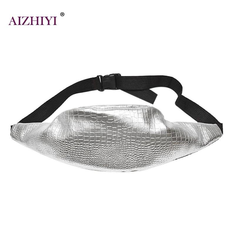 Casual Silver Women PU Leather Belt Zipper Handbag Fanny Pack Shoulder Crossbody Fashion bling Chest Satchel Bag mochila cintura цена