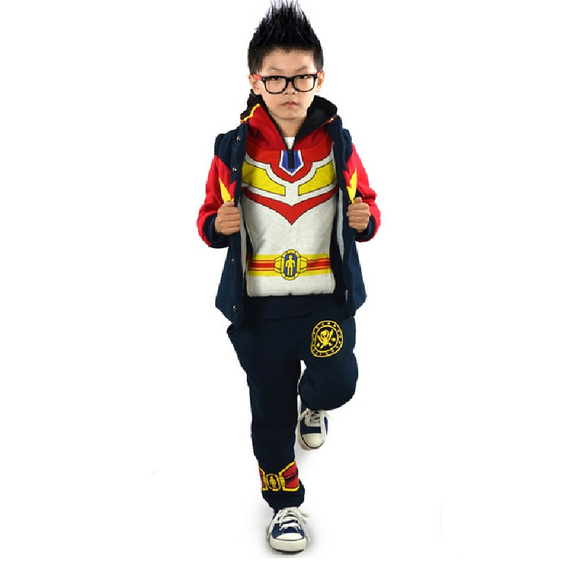 Iron Man Kids Boys Clothing Set 2016 Sports Thickening Winter 3 Piece Vest font b Hoodies