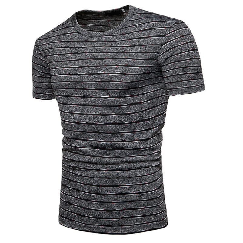 The novelty of the nano-stripe design sweater mens wear summer breathable short sleeve comfortable casual T-shirt