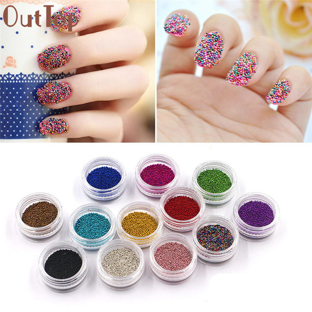 2017 Nueva OutTop 2017 Moda 12 Colores Mini Frijol Nail Art Puntas ...