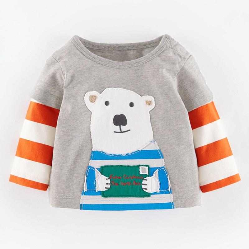 100 cotton boys t shirt christmas printed kids long sleeve cartoon tees baby boy shirts cute children sweater - Christmas Shirts For Boys