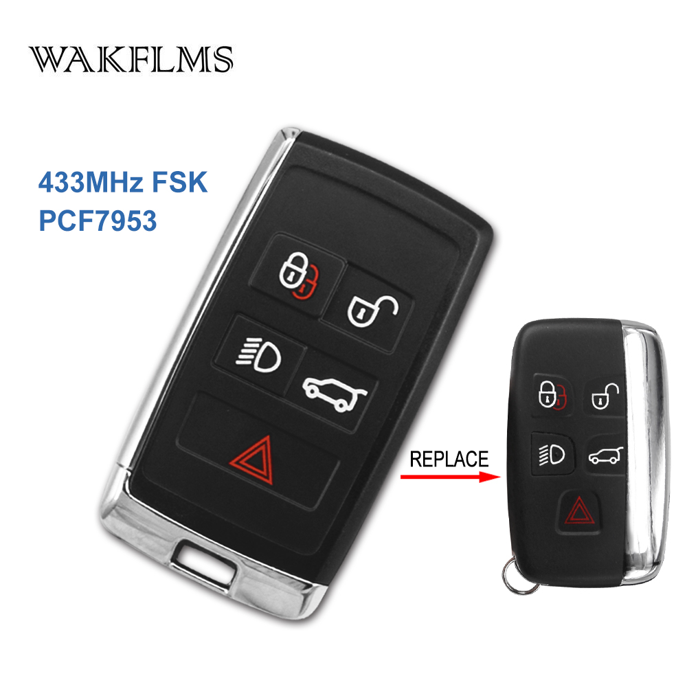 Only Shell OEM Modified 5 Buttons 433MHz PCF7953 Chip Car Key Keyless Go Entry For Land