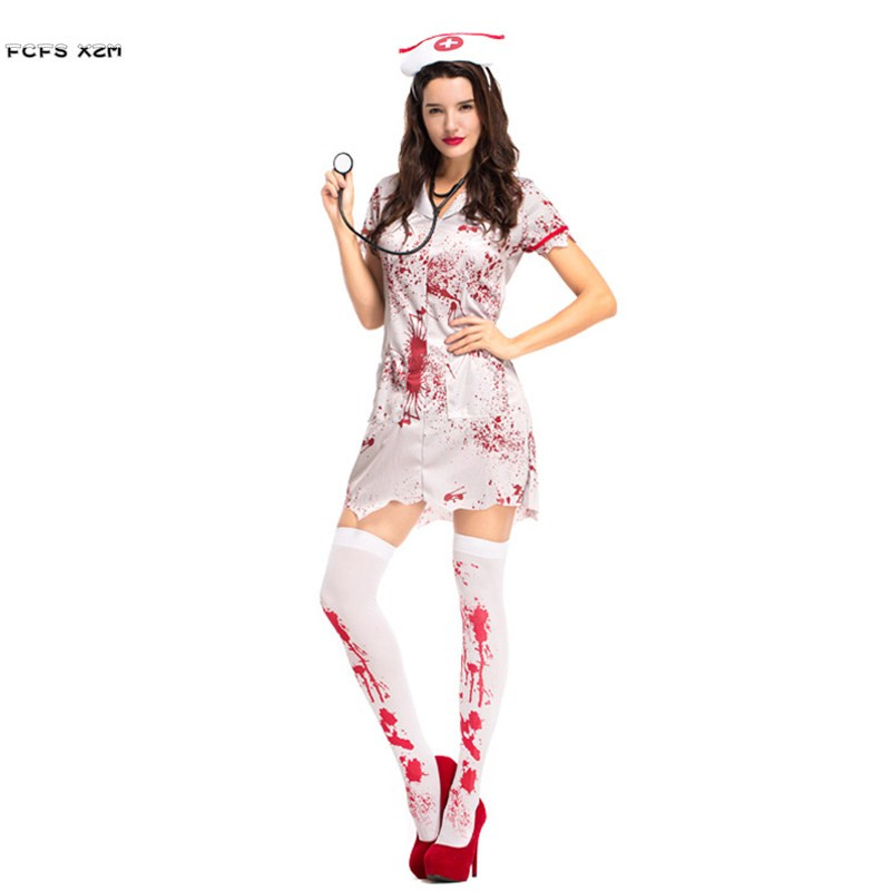 Christmas Zombie Costume.Us 17 74 29 Off Halloween Nurse Costumes For Woman Female Horrible Bloody Doctor Cosplay Zombie Role Play Carnival Christmas Nightclub Bar Dress In