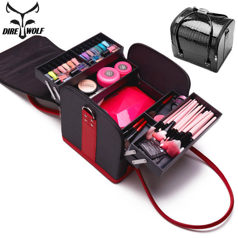 PU Leather Portable Cosmetic Bag For Cosmetics Large Capacity Women Travel Shoulder Makeup Bag Suitcase For Manicure Cosmetology