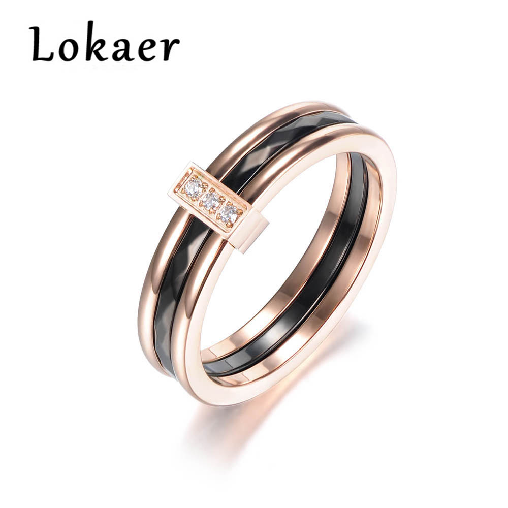 Lokaer Classic Mosaic CZ Crystal Rose Gold Color Anniversary Rings Jewelry Stainless Steel Wedding Rings For Women R180010433R