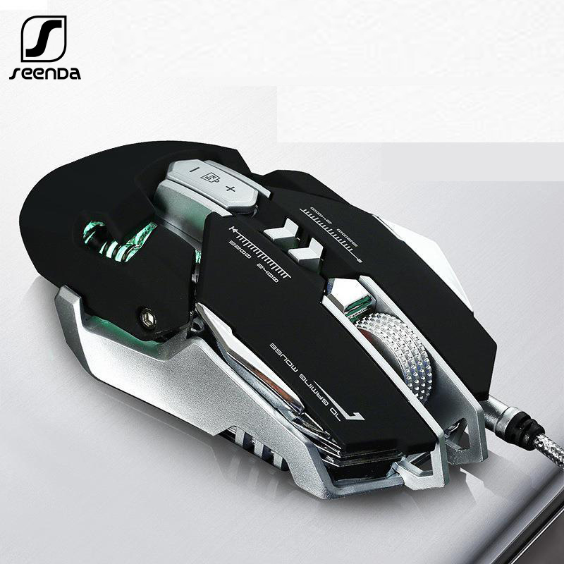 SeenDa 7Buttons Programmable Gaming Mouse Detachable Wired Optical LED Computer Mice USB Cable Ergonomic Mouse For Laptop