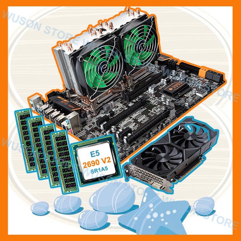 Descuento mobo HUANAN ZHI dual X79 placa base con dual CPU Intel Xeon E5 2690 V2 3,0 GHz RAM 4 * 16G 1866 tarjeta de vídeo GTX1050TI 4G
