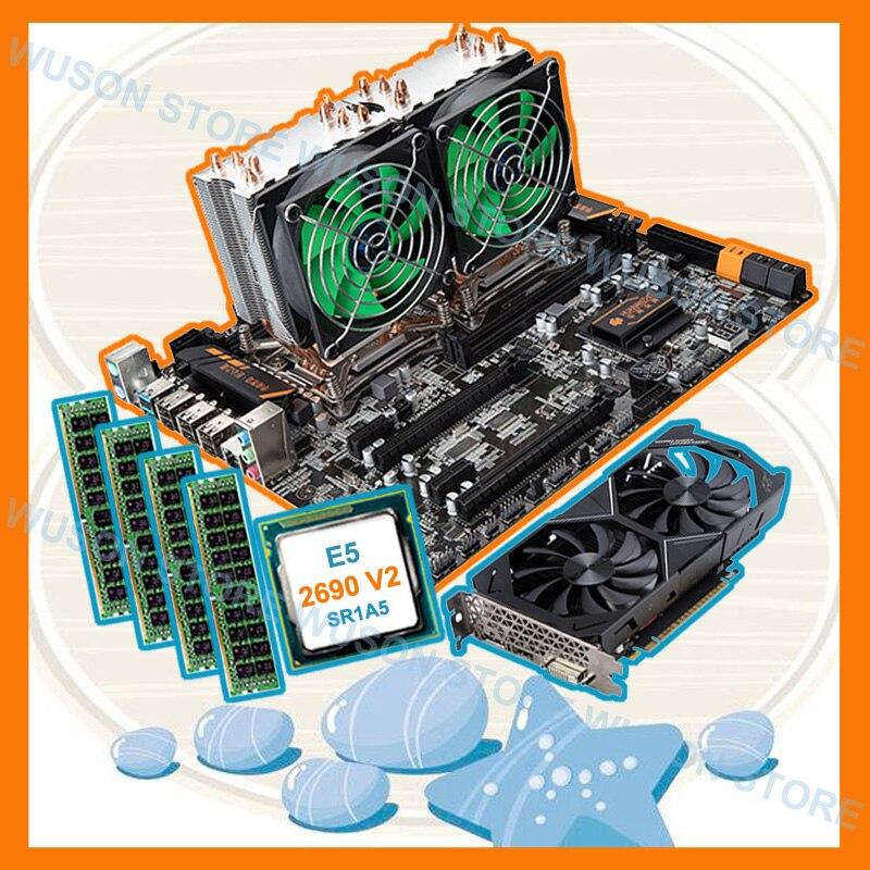 Sconto mobo HUANAN ZHI dual X79 scheda madre con dual CPU Intel Xeon E5 2690 V2 3.0 GHz RAM 4 * 16G 1866 scheda video GTX1050TI 4G