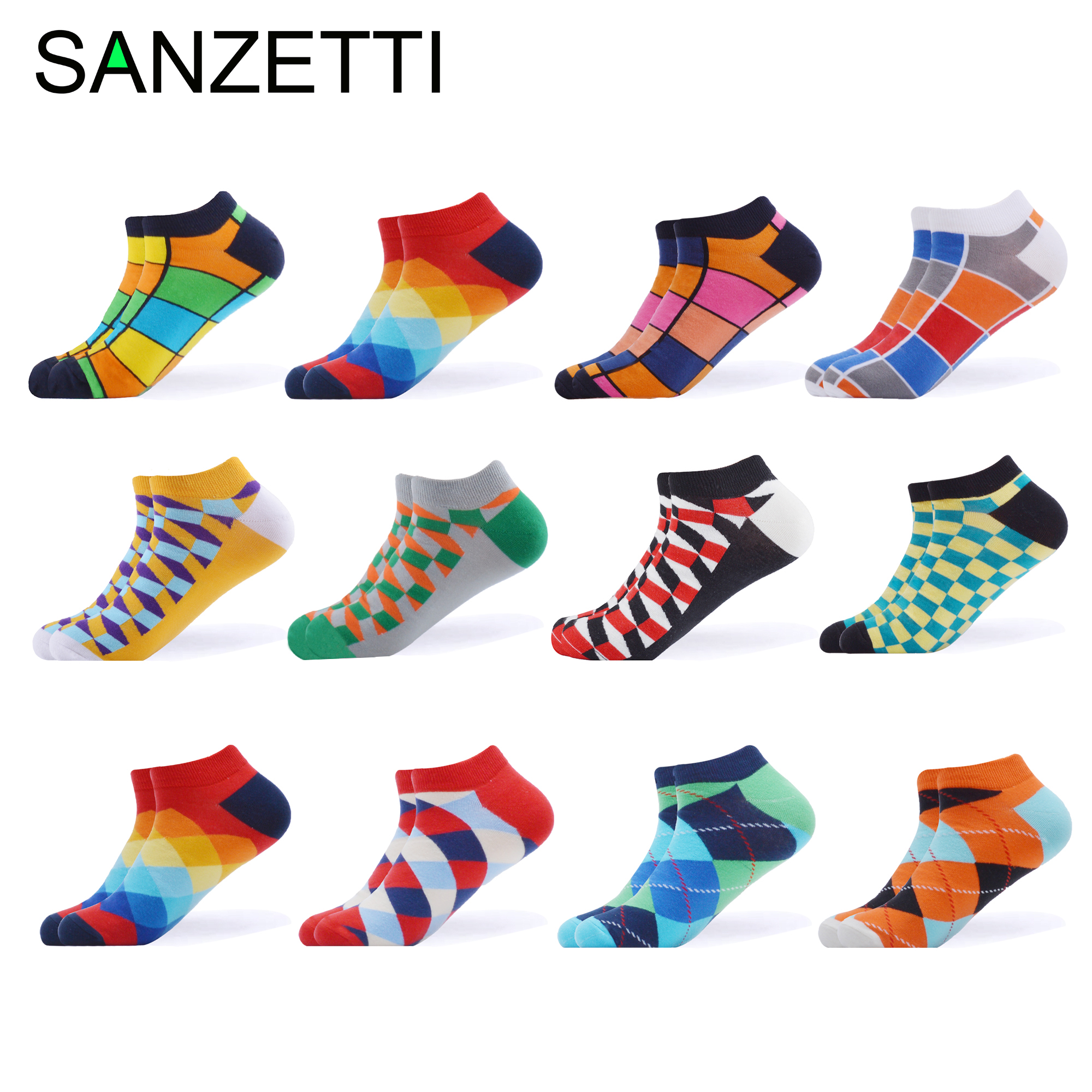 SANZETTI 12 Pairs/Lot Men's Casual Novelty Colorful Summer Ankle   Socks   Combed Cotton Short   Socks   Plaid Dress Boat Design   Socks