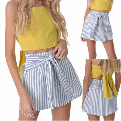 Women Summer Fashion Mini  A-Line Skirts High Waisted Elastic Stretch Lace up Retro Casual Striped Plain Skater Skirt