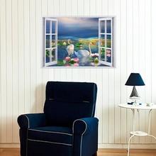 SK7019 Beach resor 3D Window View Removable Wall Sticker Wallpaper Home Decor Mural bamboo forest trail removable window view wall sticker