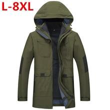 2 in one Top Quality Large Size 8XL 7XL 6XL 5XL Waterproof Windproof Outwear Jacket Professional Warm Winter Jacket Men Parkas