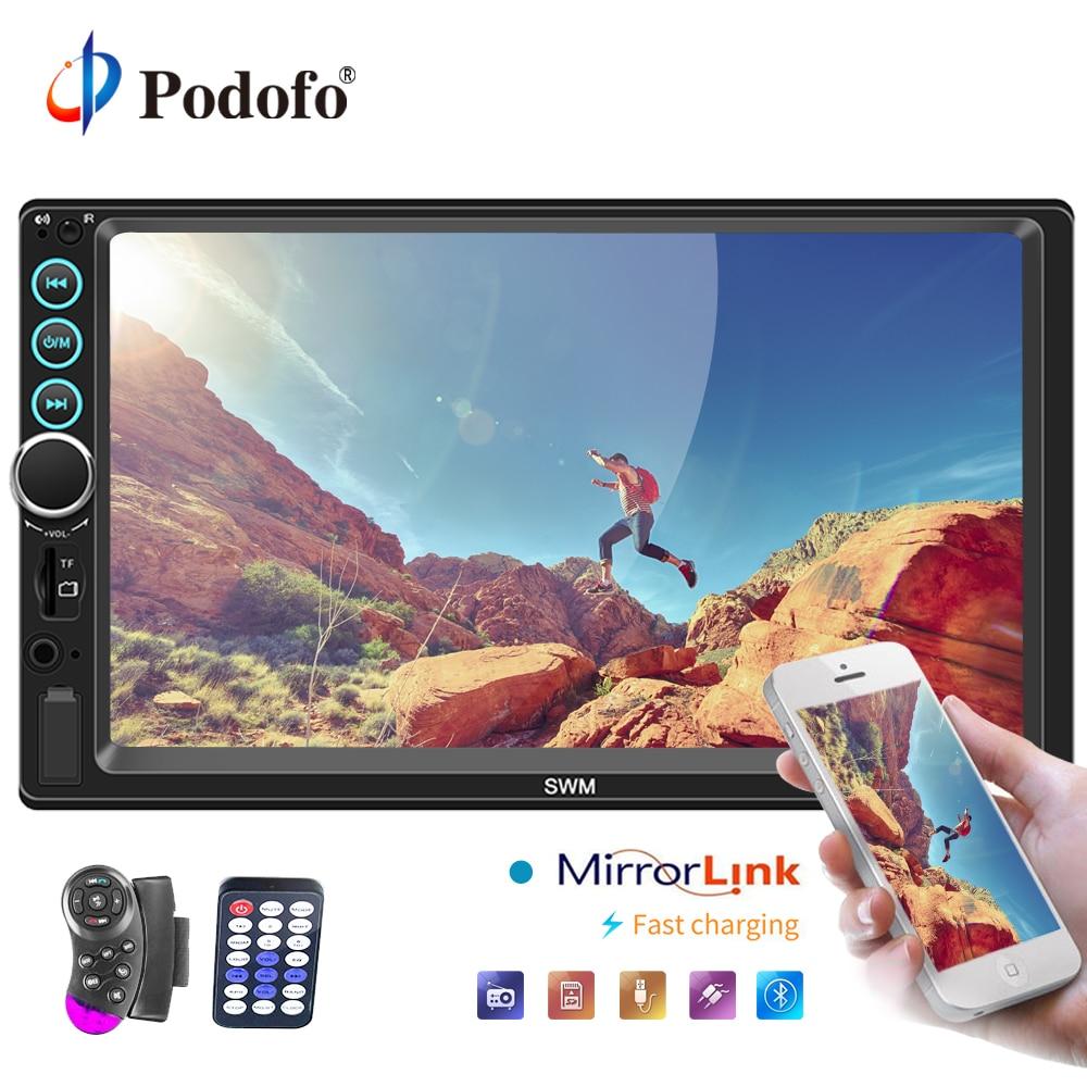 Podofo Автомобильный мультимедийный плеер авторадио 2 Din 7 Bluetooth стерео радио аудио медиа MP5 плеер с IOS/Android Зеркало Ссылка