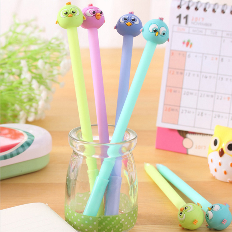 0.38mm Cute Kawaii Cartoon Plastic Gel Pens Lovely Birds Pens For Kids Writing Gift School Supplies Free Shipping 2196 kawaii cartoon cat erasable pen cute dog gel pens for kids writing gift office school supplies free shipping 3931