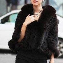 Envío Gratis nuevo abrigo de piel de visón de punto auténtico chal con cuello de piel de zorro para mujer abrigo de piel de visón al por mayor venta al por menor TF0137