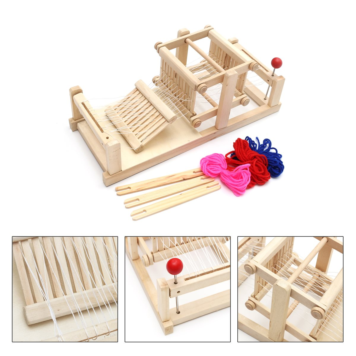 Child craft wooden blocks - New Large Chinese Traditional Wooden Table Weaving Loom Machine Model Hand Craft Toy Gift For Children