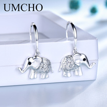 UMCHO Sequins 925 Silver Cute Elephant Women Drop Earrings Animal shape for Girl Party Birthday Gifts Shipping
