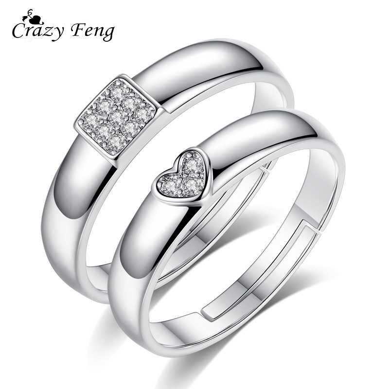 2 Pcs Heart Love Crystal Couple Rings Christmas Jewelry Engagement Ring for Men Women Wedding Accessories Adjustable Rings Gift
