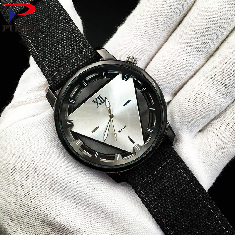 Large Dial Military Sport Watches For Men Nylon Watchband Watch Men Chronograph Quartz Wristwatch Waterproof James Clock PINBO np shock resistant waterproof watch men 2016 new nylon sport watches ultra slim watchcase men s fashion clock large white dial