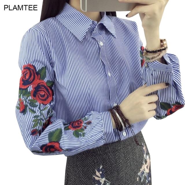 Las Solo Con Blusas Camisas De Flores Para Rayas Bordado Breasted C1wHZgqwx