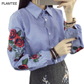 Flower Embroidery Blouses with Striped Single Breasted Shirts for Women Clothing Fashion Spring Chemise Femme New Ladies Tops