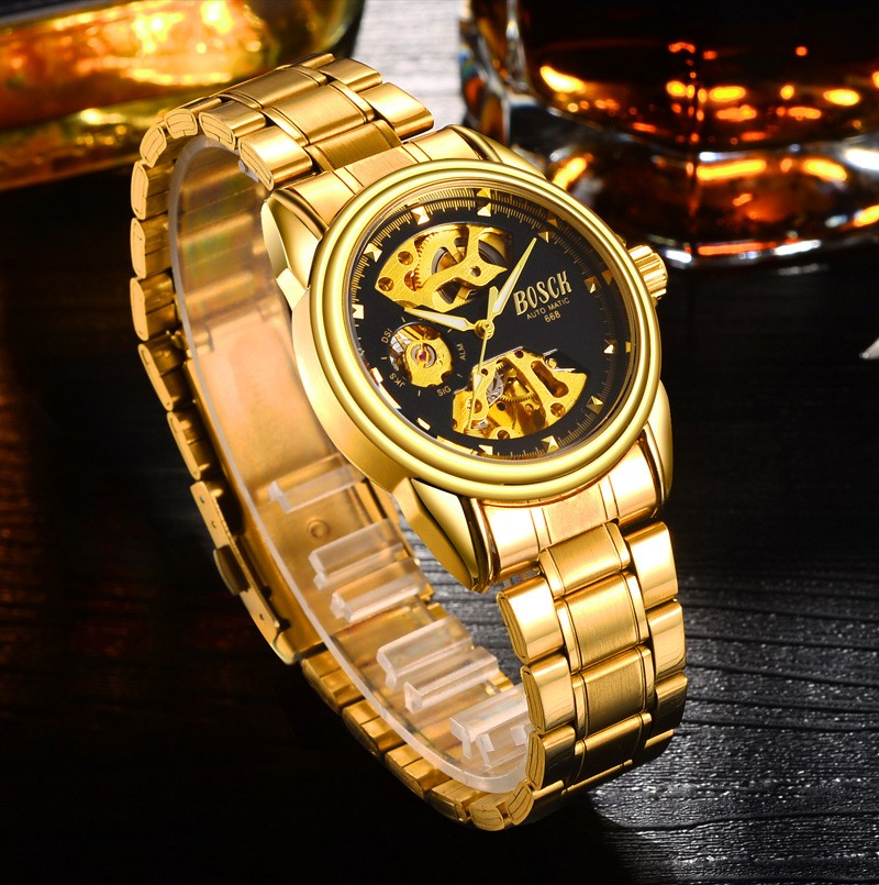HTB1oCZWbf1H3KVjSZFBq6zSMXXa2 Men's Watches Automatic Mechanical Gold Watch Male Skeleton Dial Waterproof Stainless Steel Band Bosck Sports Watches Self Wind