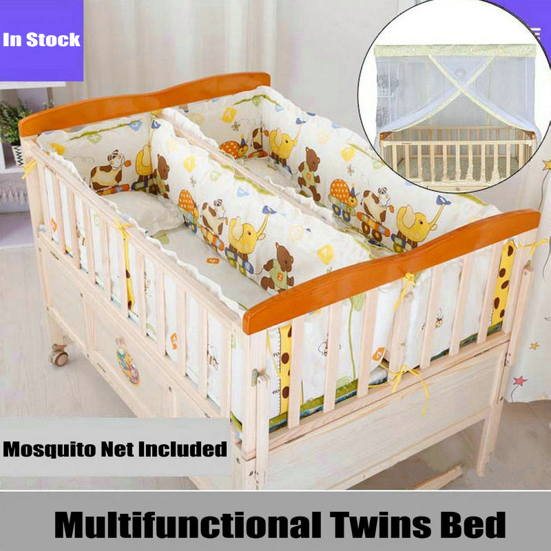 Wooden Twins Bed Can Combine With Adult Bed, All-in-one Baby Crib For 2 Kids, Square Mosquito Net Inlcuded, Simple Twins Cot
