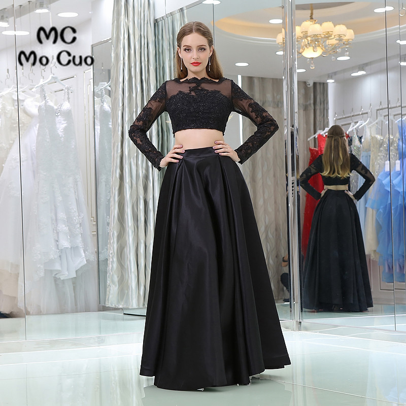 New Black Prom dresses Long Sleeve Appliques Vestidos de fiesta ...